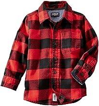OshKosh B39gosh Little Boys39 Check Flannel Shirt ToddlerKid - Red - 5