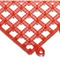 "San Jamar VM5280 Versa-Mat Interlocking Bar Mat, 12"" Length x 12"" Width, Red (Pack of 12)"