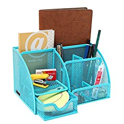 MyGift Multipurpose Turquoise Blue Metal Mesh 6 Compartment Desk Organizer Office Supply Caddy