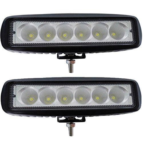 LotFancy® 2PCS 18w Flood Beam LED Work Light ATV 4X4 Off Road Light 1800 Lumen 6500K 90 Degree Waterproof Light(2X Flood 18W 6LED) (02 Ford F150 Lift Kit compare prices)