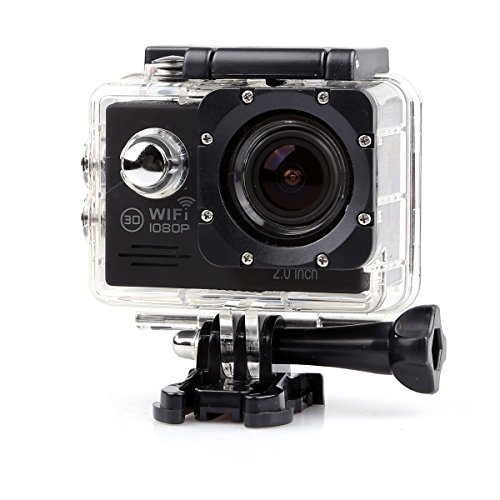 "Lightdow LD6000 1080P HD Wifi Sports Action Camera Kit - 2.0"" LCD + 170° Wide Angle Lens + DSP-NT96655 + Bonus Battery (Black+WiFi)"