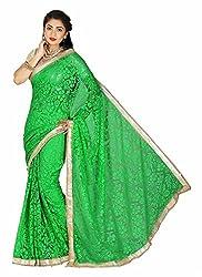 Clothsguru Women's Brasso Saree with Blouse Piece (Green)