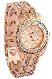 Timiho Crystal Studded Rose Gold Strap And Dial Blingy Watch For Women