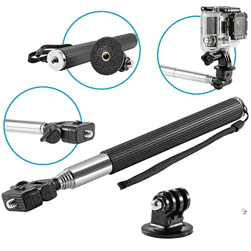 Neewer®  Extendable Self-portrait Telescopic Handheld Pole Camera Monopod Set with Tripod Mount Adapter and Screw for GoPro Hero 1 2 3 3+ 4 Camera amd Digital Camera (Timer Tripod compare prices)