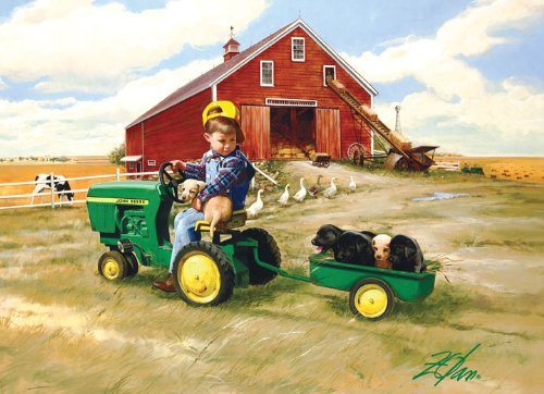 Masterpieces PuzzleCompany John Deere Tractor Ride Collectible Jigsaw Puzzle Tin (1000-Piece) front-335582