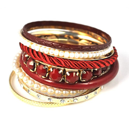 vintage multi rows bangles with pearls and chains.BR-1344