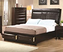 Hot Sale Phoenix King Upholstered Storage Platform Bed by Coaster