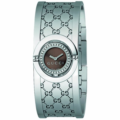 Gucci Women's YA112503 Twirl Small Steel Bangle Diamond Case Watch