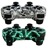 MKK 2 Pack Wireless Bluetooth Double Vibration Gamepad Game Gaming Controllers for PS3- 1 Green Lightning and 1 Skull