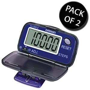 2x Omron HJ005-E Step Counter Pedometer With Large Lcd Display