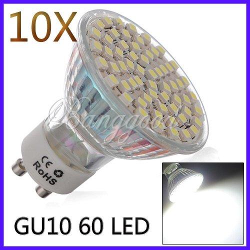 10X Gu10 Blanc 60 Led 3528 Smd Lumiere 4.5W 300Lm 120° 6000K Spot Ampoule Lampe