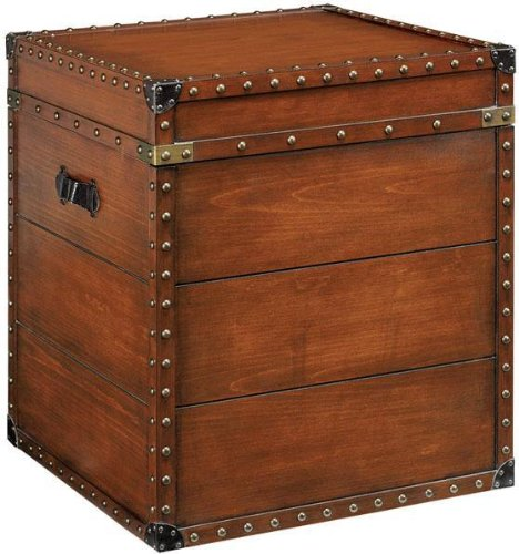 Chest Coffee Table Online Square Steamer Trunk Side End Table 23 5 Hx20 W Luggage Brown