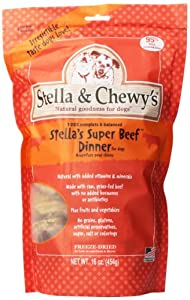 Stella & Chewy's Freeze Dried Dog Food for Adult Dogs, Beef Dinner, 16 Ounce Bag