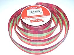Red and Pink Plaid Decorative Ribbon - Continuous 9 Foot Roll X 1/2 Inches Wide
