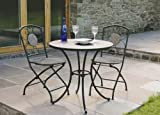 Trueshopping High Quality Sawley Bistro Tiled Garden Patio Outdoor Dining Set Table And 2 Chairs Hard-Wearing Cafe Style Easy to Assemble