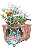 """Plow & Hearth Rolling Self-Watering Tomato Planter and Tomato Tower Support - Polypropelene Planter and Powder Coated Steel Tower - Terra Cotta Colored Planter - 25½""""L x 13¾""""W x 13½""""H Planter with 20""""L x 10""""W x 40""""H Tower"""