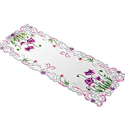Poppy Floral Embroidered Dresser Scarf