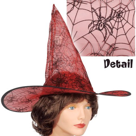 Red Spider Web Witch Hat