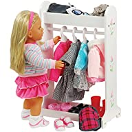 CP Toys Today's Girl Wooden Doll Clothes Rack for 18 inch Doll with 4 Hangers and 2 Shelves
