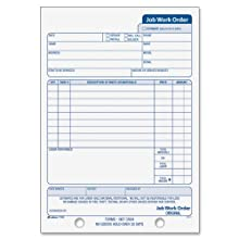 Adams Job Work Order Book, 5.56 x 8.44 Inch, 3-Part, Carbonless, 33 Sets, White and Canary (T5868)
