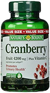 Nature's Bounty Cranberry Fruit 4200mg/ Plus Vitamin C, 250 Softgels