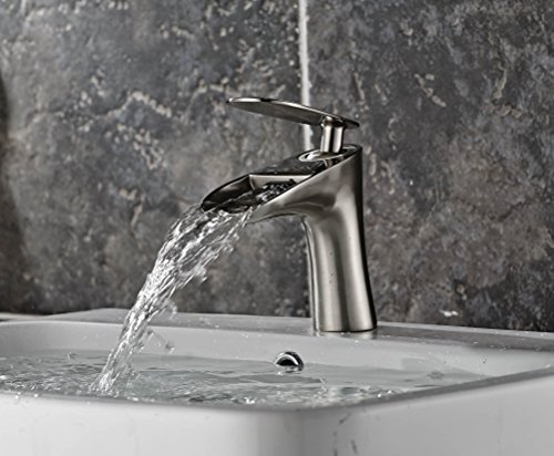 Aquafaucet Brushed Nickel Waterfall Bathroom Faucet Lavatory Mixer Tap Vanity Single Handle Single Hole Control Cold And Hot Water