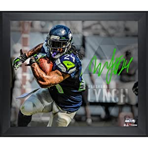 Limited Edition Framed Marshawn Lynch Seattle Seahawks Signed 16x20 Super Bowl XLVIII... by Sports Memorabilia