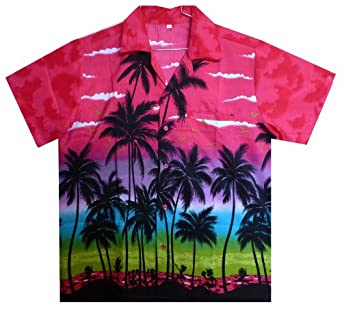 Funky Hawaiian Shirt, Beach, Pink, XS