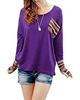 Doinshop Women's Long Sleeve Round Neck Tops Checked Loose Shirt