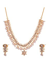 Ganapathy Gems Gold Plated Necklace Set With White Stones And Pearl Drops