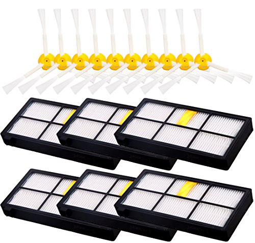 6pcs 3-Armed Side Brush + 10pcs HEPA Filter for Roomba 880 870 980, I-clean for iRobot Roomba Vacuum Replacement Parts (800 900 Series) (I Robot Roomba Accessories compare prices)