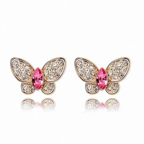 TAOTAOHAS- [ Search Name: Honey Butterfly ] (1PAIR) Crystallized Swarovski Elements Austria Crystal Stud Earrings, Made of Alloy Plated with 18K True Platinum / White Gold and Czech Rhinestone