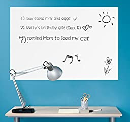 Wall26 Wall Chalkboard Removable Dry Erase Blank Message Board Peel and Stick Decal Sheet (Marker Included) - 24\