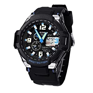 Felix Men's Sport Watch Analogue Digital Black Dial Black Silicone Strap Swimming Blue Hands Watch 2 Time Zone SNK67607BK