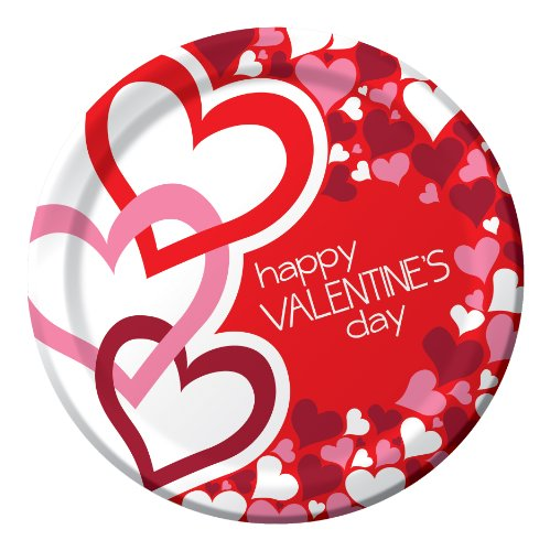 Creative Converting Valentine's Day Round Dinner Plates with Love Me Design, 8 Per Package