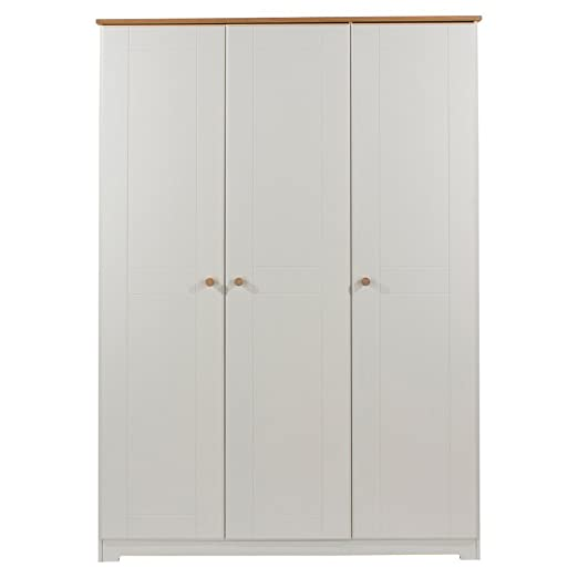 Core Products 3 Door Wardrobe with Oak Veneered Tops, Wood, Soft Cream