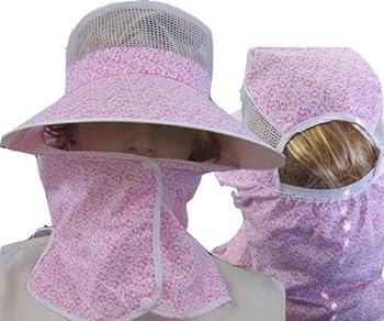 日よけ帽子■首までガード完全防備のUVカット紫外線対策用/花柄ピンク