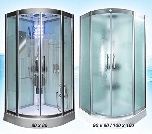 Dampfdusche Dusche Duschtempel Fertigdusche 80x80 90x90 100x100 AcquaVapore DTP8046 WS-SS-DF-TH, EasyClean Versiegelung der Scheiben:2K Scheiben Versiegelung +89.-EUR;Abmessungen:L / 90x90x215cm +20.-EUR