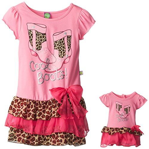 Dollie & Me Little Girls' Cool Boot Leopard Fashion Dress, Pink/Multi, 6 front-720728