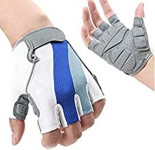 OuterStar Cycling Half Finger Gloves Men39s Women39s Sportswear Riding Equipment Breathable Mesh Blu