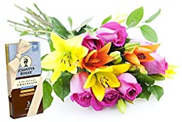 Mad for You Lilies & Roses Bouquet and Scharffen Berger Chocolate - Without Vase