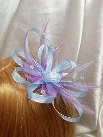 Pale Light Blue Ribbon Amp Lilac Feathers Hair Wedding