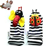 Brand New New Baby Infant Ladybug Bee Foot Socks Rattles Feet Finder Play Grow Toys