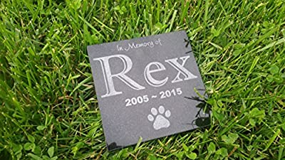 "Personalised Pet Stone Memorial Marker Granite Marker Dog Cat Horse Bird Human 6"" X 6"" Custom Design Personalised Boxer Chow Chow Chihuahua"