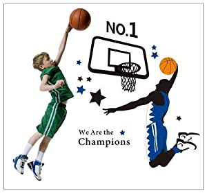 Tarmader No.1 We Are The Champions Quotation A Man Playing the Basketball for Men or Boys' Bedroom Wall Stickers Decor