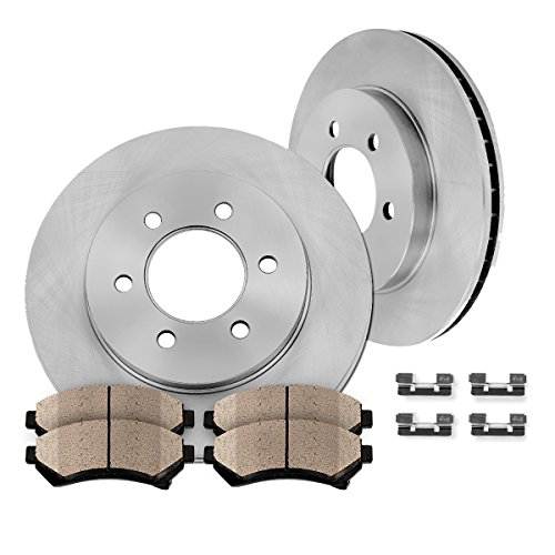 CK001647 [ Base / XE / 2WD ] Front Premium OE 259mm [2] Rotors + [4] Quiet Low Dust Ceramic Pads + Pad Hardware Clips (2003 Nissan Frontier Xe compare prices)