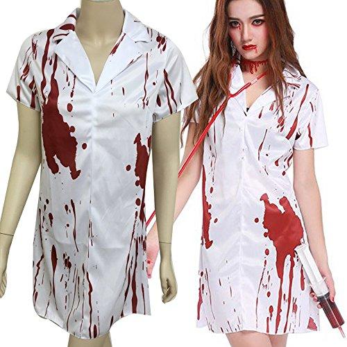 看護婦 ナース 医者 仮装 衣装 ハロウィーン ゾンビ ホラー 血痕 お化け コスプレ 白装束 血染め (血痕ナース服)