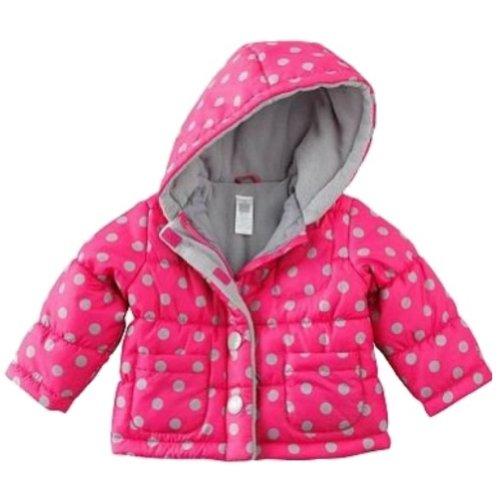 Carters Infant Girls Pink Gray Polka Dot Winter Ski Jacket