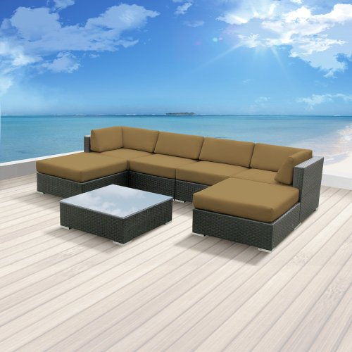 Luxxella Patio Mallina Outdoor Wicker Furniture 7-Piece All Weather Couch Sofa Set, Dark Beige photo