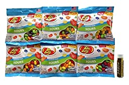 Jelly Belly Assorted Sours Sugar-Free with Splenda Jelly Beans 2.8 oz Bag - Box of 6 with a Jarosa Bee Organic Chocolate Bliss Lip Balm